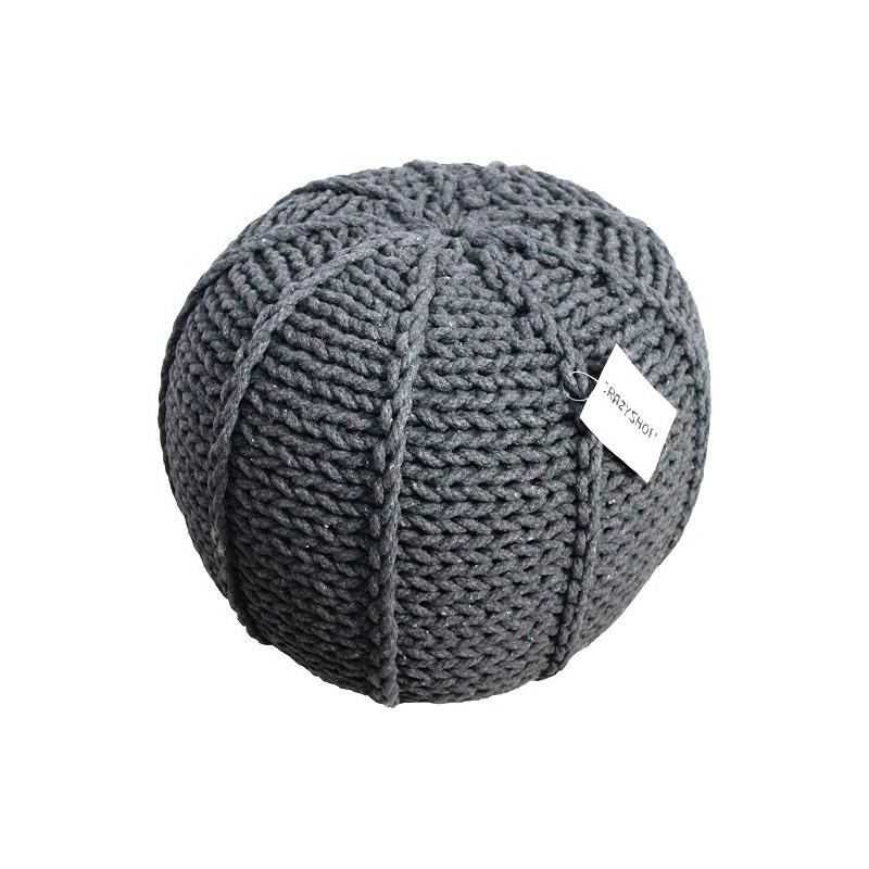 Pletený puf CRAZYSHOP MELON, tmavo šedá (ručne pletený)