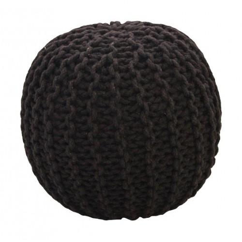 Pletený puf CRAZYSHOP SOLID, černý (ručně pletený)