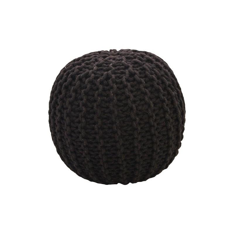 Pletený puf CRAZYSHOP SOLID Mini, černý (ručně pletený)