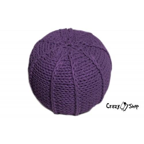 Pletený puf CRAZYSHOP MELON, fialový (ručne pletený)