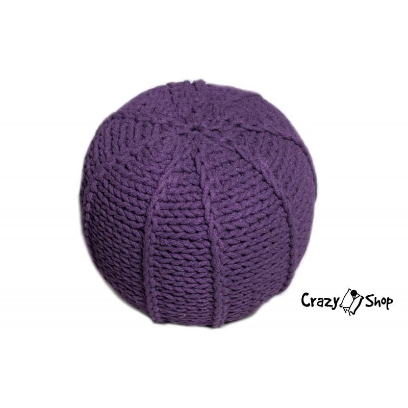 Pletený puf CRAZYSHOP MELON, fialový (ručně pletený)