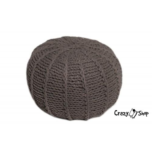 Pletený puf CRAZYSHOP MELON, hnědý (ručně pletený)
