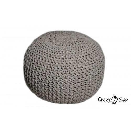 Pletený puf CRAZYSHOP SOLID, béžový (ručně pletený)