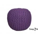 Pletený puf CRAZYSHOP SOLID, fialový (ručně pletený)