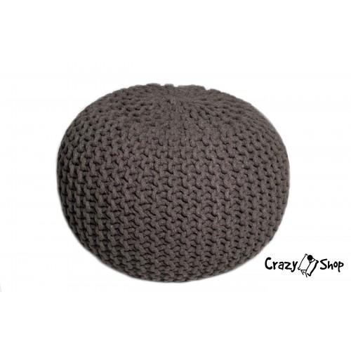Pletený puf CRAZYSHOP SOLID, hnědý (ručně pletený)