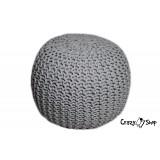 Pletený puf CRAZYSHOP SOLID, šedý (ručne pletený)