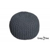 Pletený puf CRAZYSHOP SOLID, tmavě šedý (ručně pletený)