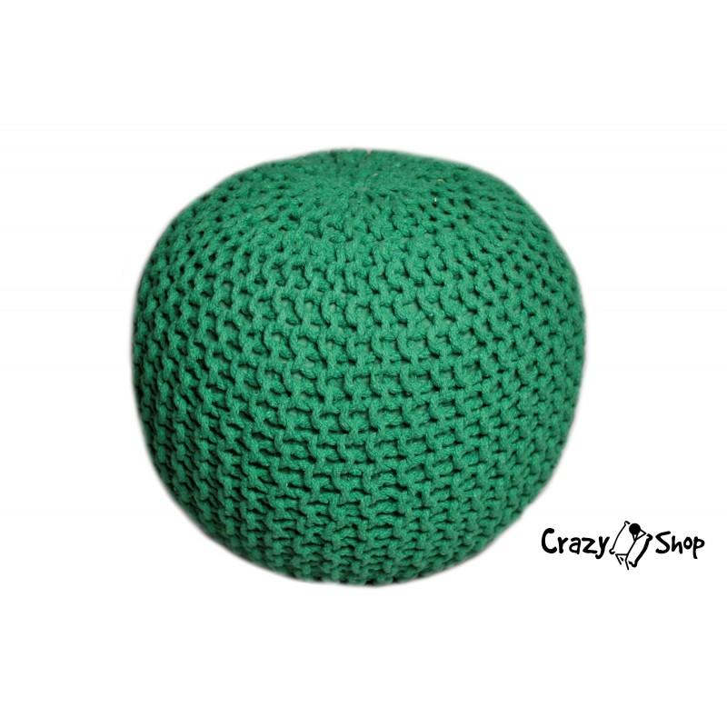 Pletený puf CRAZYSHOP SOLID, zelený (ručně pletený)