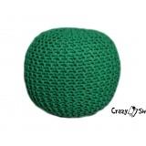 Pletený puf CRAZYSHOP SOLID, zelený (ručne pletený)