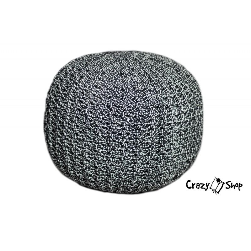 Pletený puf CRAZYSHOP TWIN, černo-bílá (ručně pletený)