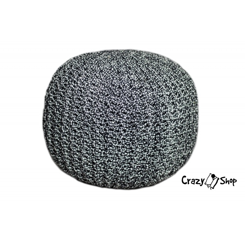 Pletený puf CRAZYSHOP TWIN, čierno-biela (ručne pletený)