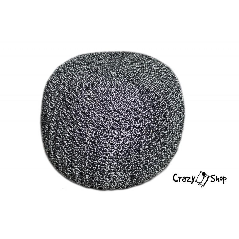 Pletený puf CRAZYSHOP TWIN, tmavo šedá-biela (ručne pletený)