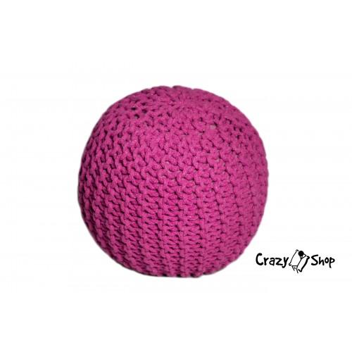 Pletený puf CRAZYSHOP SOLID Mini, růžový (ručně pletený)