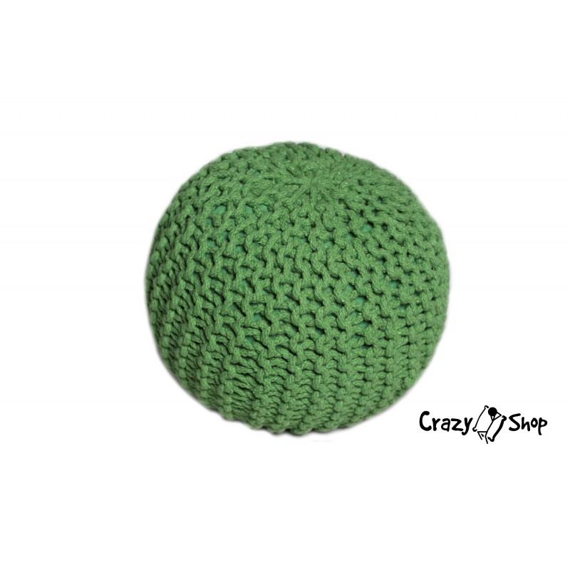 Pletený puf CRAZYSHOP SOLID Mini, zelený (ručne pletený)