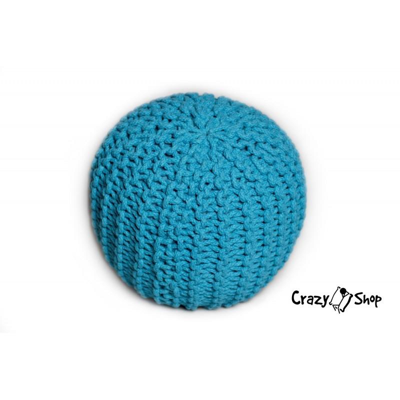 Pletený puf CRAZYSHOP SOLID Mini, tyrkysový (ručne pletený)