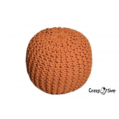 Pletený puf CRAZYSHOP SOLID Mini, oranžový (ručne pletený)
