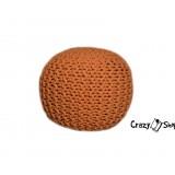 Pletený puf CRAZYSHOP SOLID Mini, oranžový (ručně pletený)