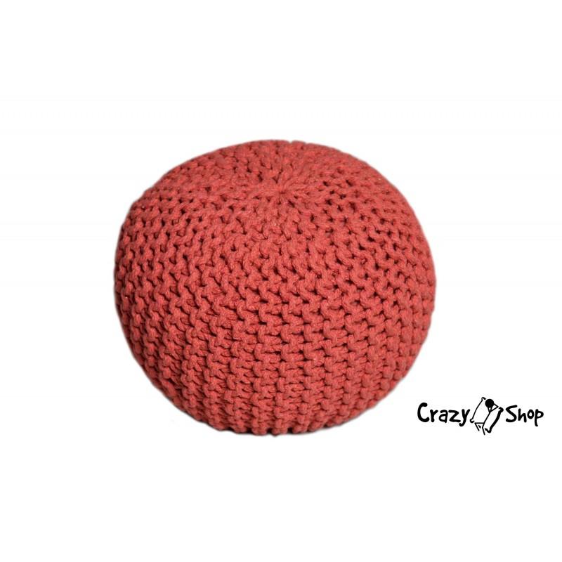 Pletený puf CrazyShop SOLID Mini, červený (ručně pletený)