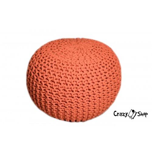 Pletený puf CRAZYSHOP SOLID, oranžová (ručně pletený)