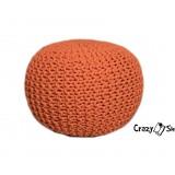 Pletený puf CRAZYSHOP SOLID, oranžový (ručne pletený)