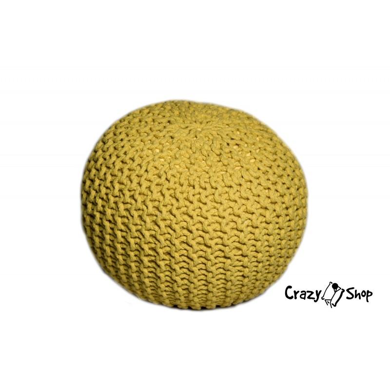 Pletený puf CRAZYSHOP SOLID, žlutá (ručně pletený)