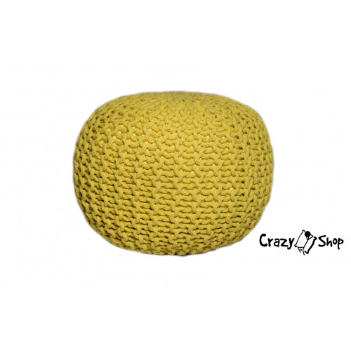 Pletený puf CRAZYSHOP SOLID, tyrkysová (ručně pletený)