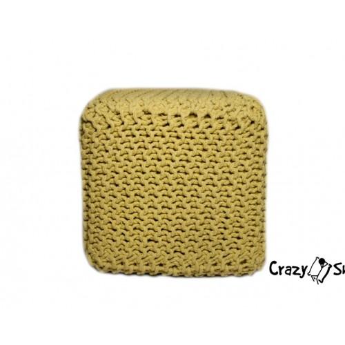 Pletený puf CRAZYSHOP CUBE, tmavě šedá (ručně pletený)