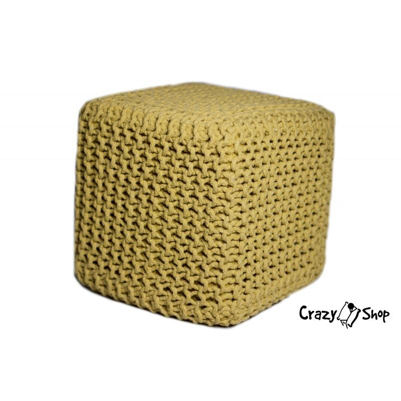 Pletený puf CRAZYSHOP CUBE, žltý (ručne pletený)