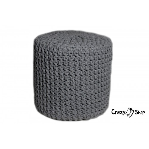 Pletený puf CRAZYSHOP CUBE, šedá (ručně pletený)