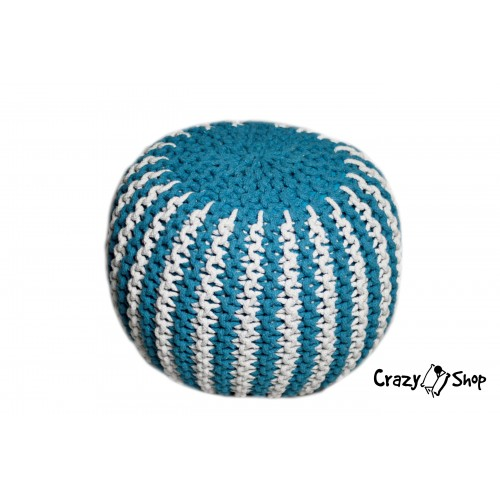 Pletený puf CRAZYSHOP TWIN, tyrkysovo-biela (ručne pletený)