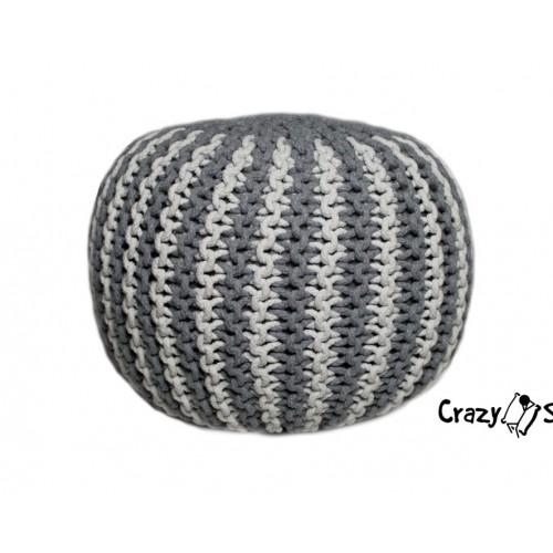 Pletený puf CRAZYSHOP TWIN, tyrkysovo-bílá (ručně pletený)